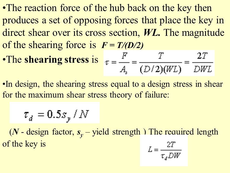 The reaction force of the hub back on the key then produces a set of opposing forces that place the key in direct shear over its cross section, WL. The magnitude of the shearing force is F = T/(D/2)