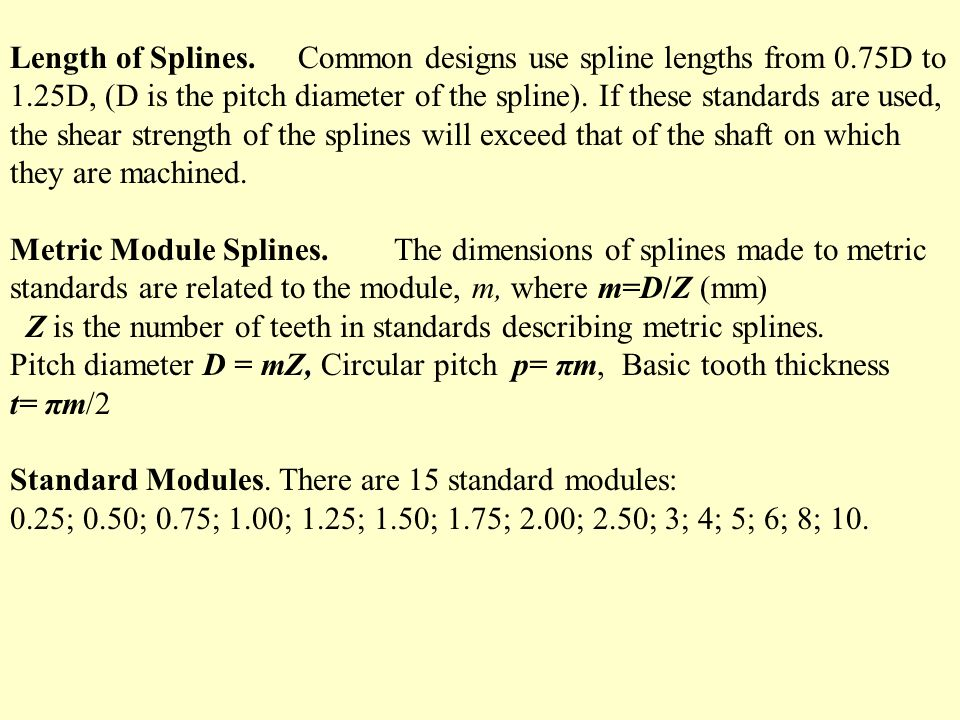 Length of Splines. Common designs use spline lengths from 0. 75D to 1