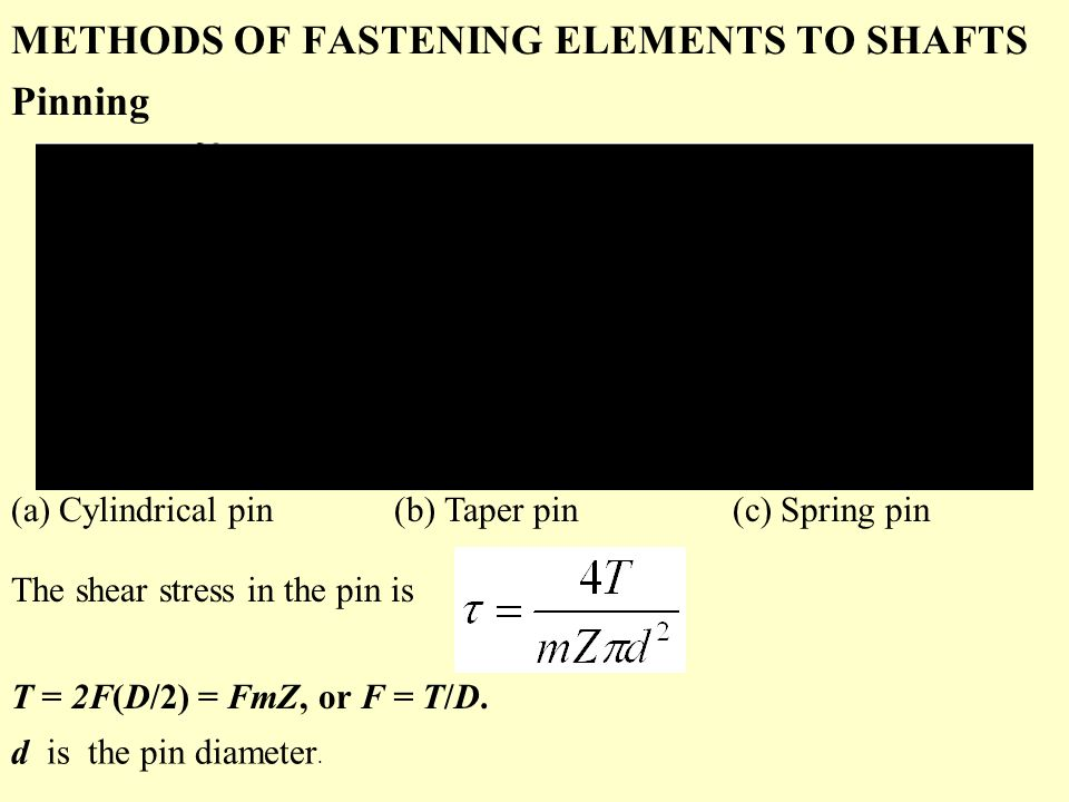 METHODS OF FASTENING ELEMENTS TO SHAFTS Pinning