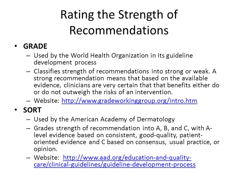 Rating the Strength of Recommendations