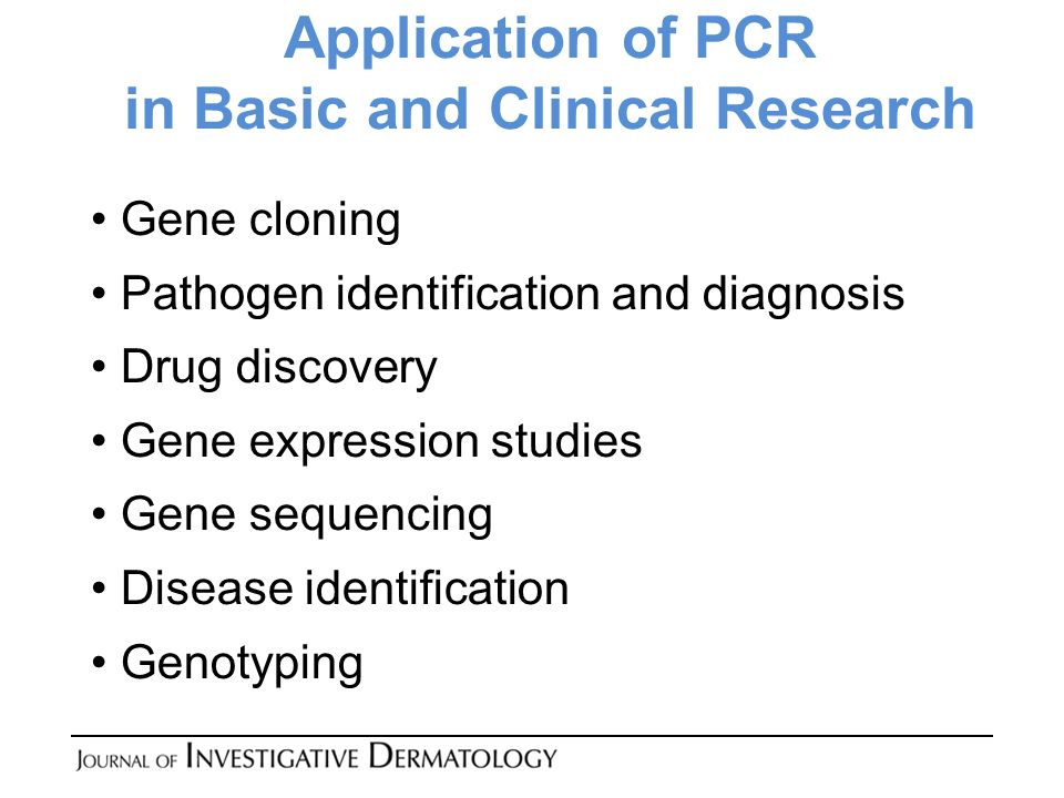Application of PCR in Basic and Clinical Research