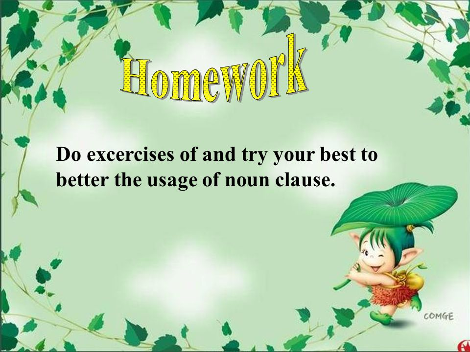 Homework Do excercises of and try your best to