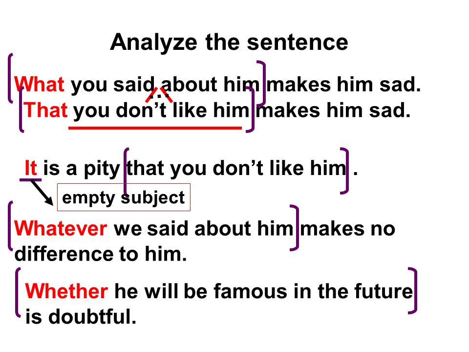 Analyze the sentence … What you said about him makes him sad.