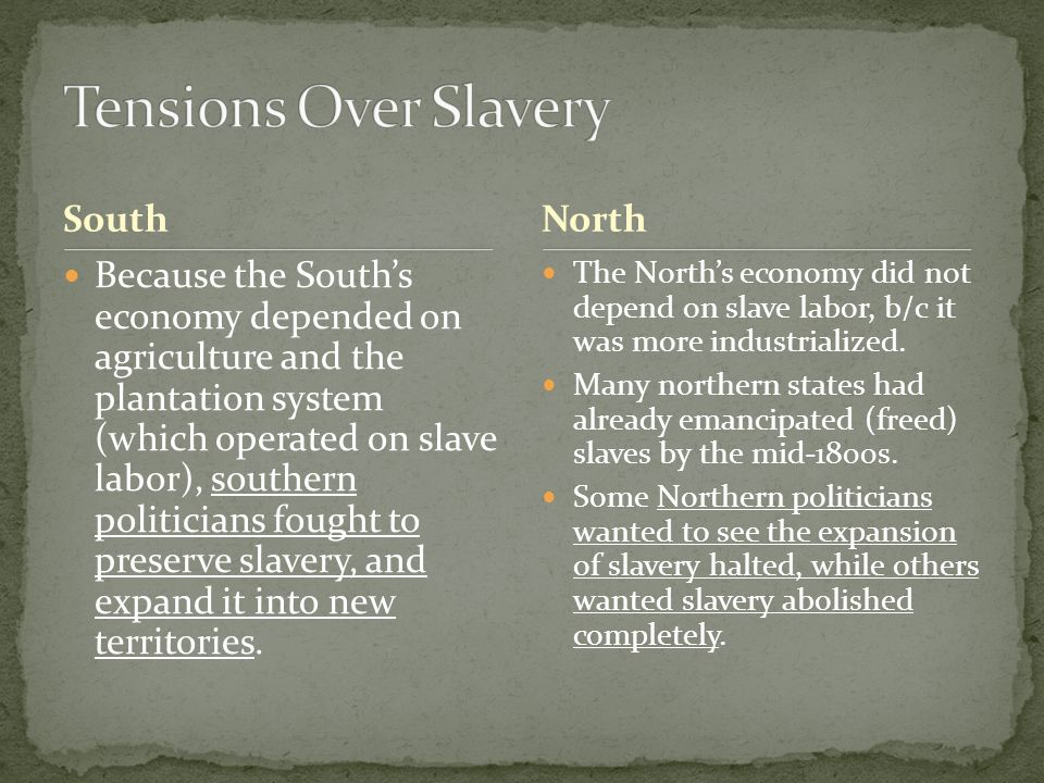 slavery in the north and south American civil war:  the extension of slavery into new territories and states had been an issue as far back as the  comparison of north and south the high.