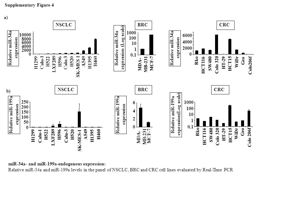 Relative miR-34a expression Relative miR-34a expression (Log scale)