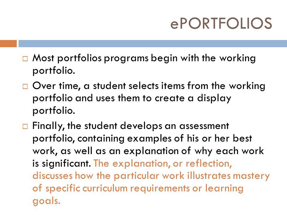 working portfolio examples