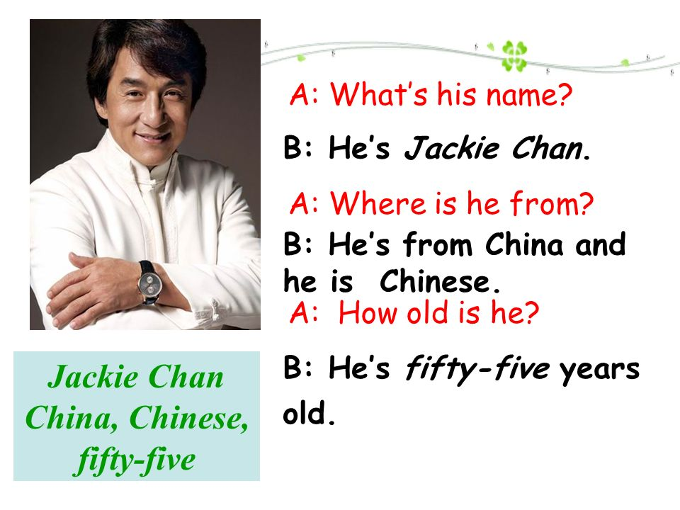 Jackie Chan China, Chinese, fifty-five