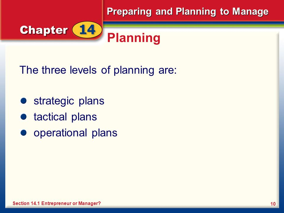 Planning The three levels of planning are: strategic plans