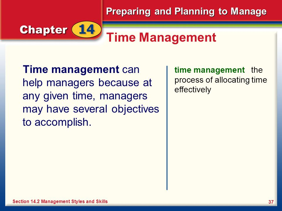 Time Management Time management can help managers because at any given time, managers may have several objectives to accomplish.