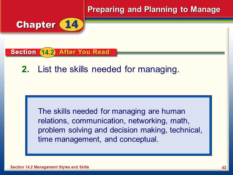 List the skills needed for managing.