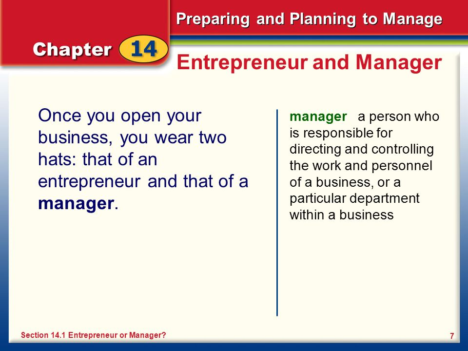 Entrepreneur and Manager