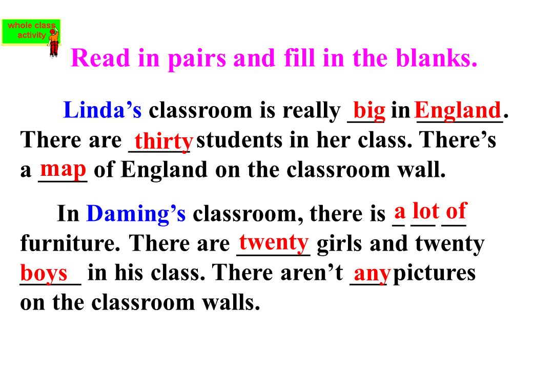 Read in pairs and fill in the blanks.