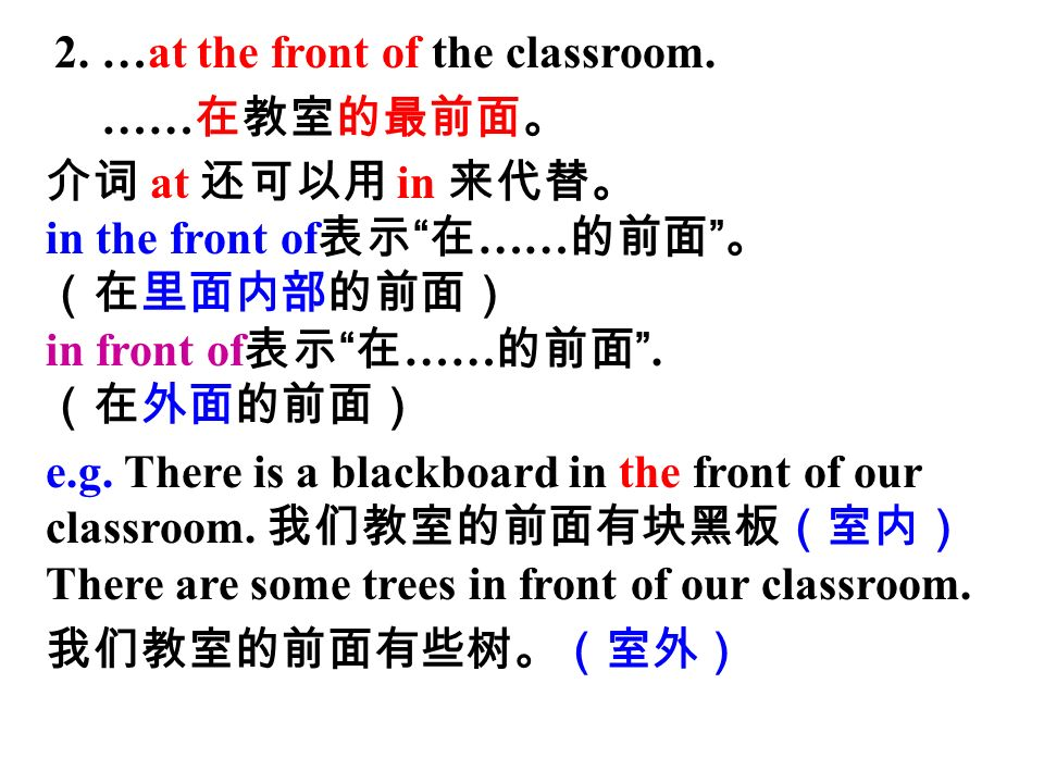 2. …at the front of the classroom.