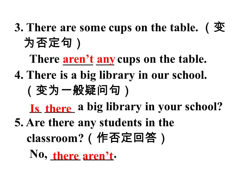 3. There are some cups on the table. (变为否定句)
