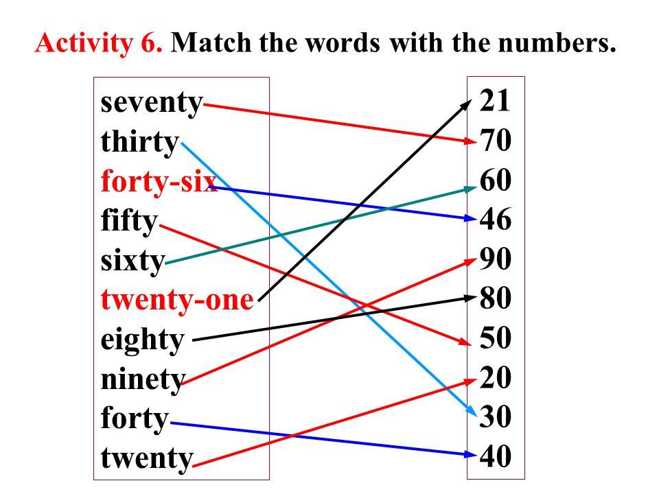 seventy 21 thirty 70 forty-six 60 fifty 46 sixty 90 twenty-one 80