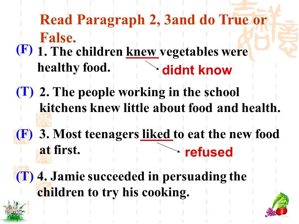 Read Paragraph 2, 3and do True or False.