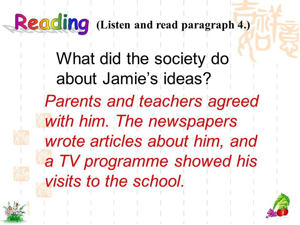 What did the society do about Jamie's ideas
