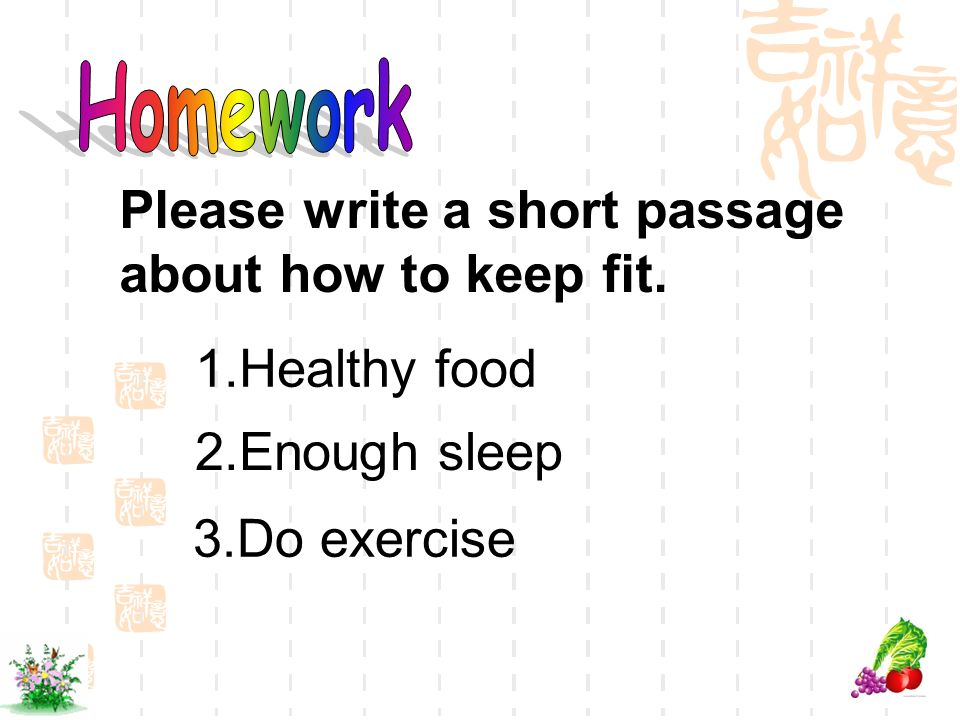 Please write a short passage about how to keep fit.