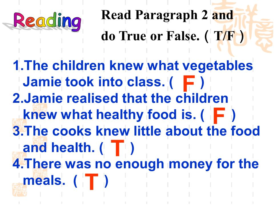 F F T T Read Paragraph 2 and Reading do True or False.(T/F)