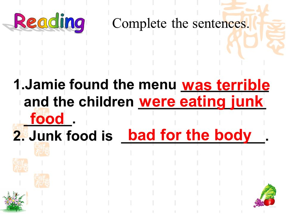 was terrible were eating junk food bad for the body Reading