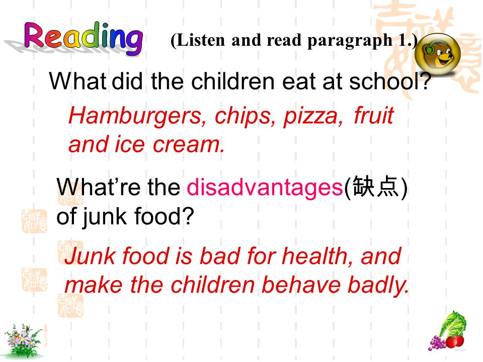 What did the children eat at school