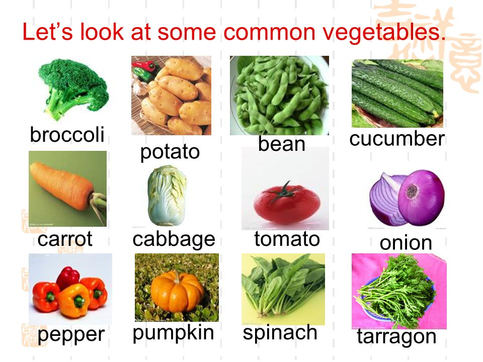 Let's look at some common vegetables.