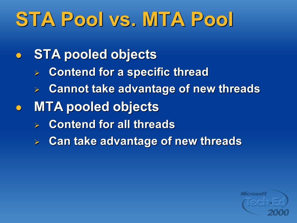 STA Pool vs. MTA Pool STA pooled objects MTA pooled objects