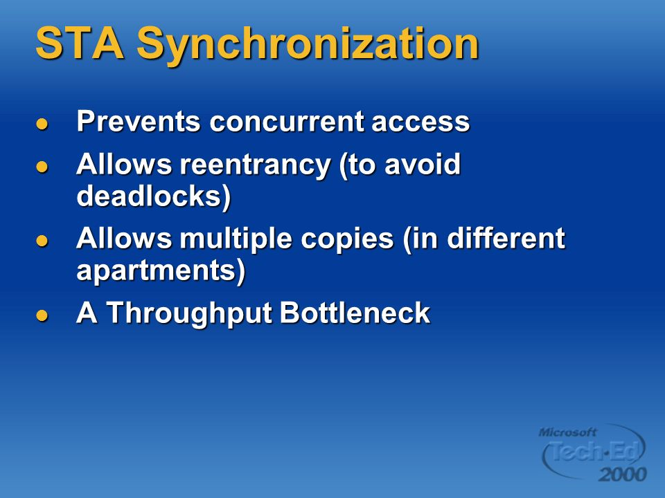 STA Synchronization Prevents concurrent access