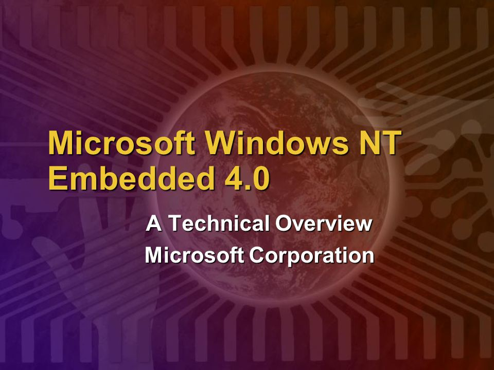 Microsoft Windows NT Embedded 4.0