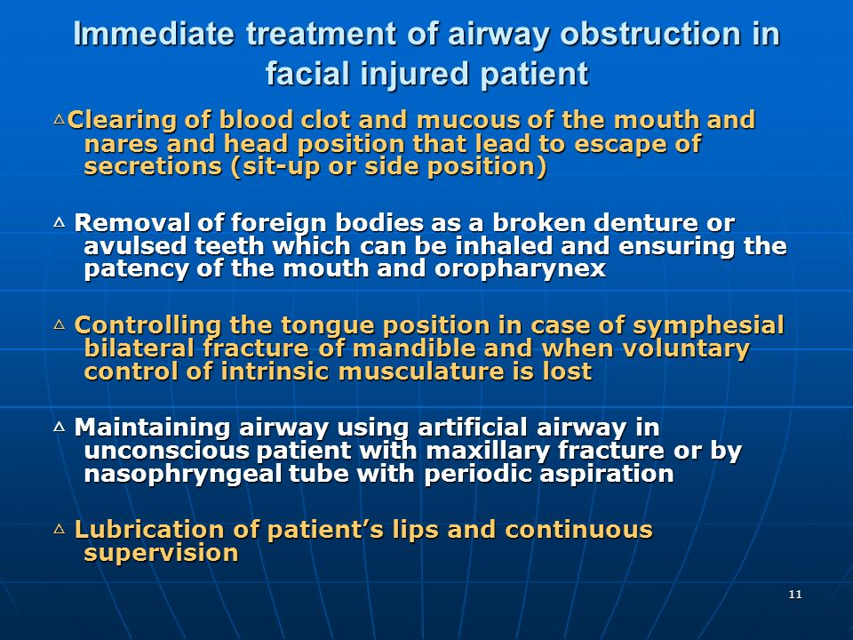 Immediate treatment of airway obstruction in facial injured patient