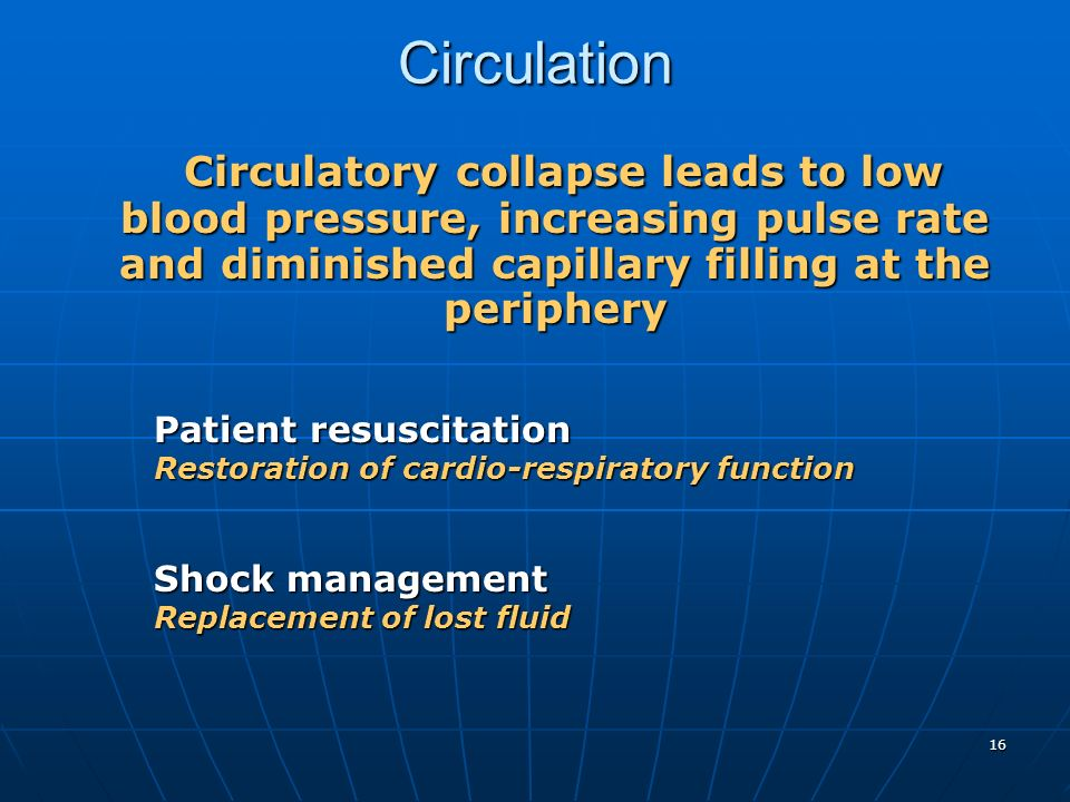 Circulation Circulatory collapse leads to low blood pressure, increasing pulse rate and diminished capillary filling at the periphery.