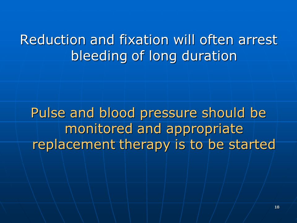 Reduction and fixation will often arrest bleeding of long duration