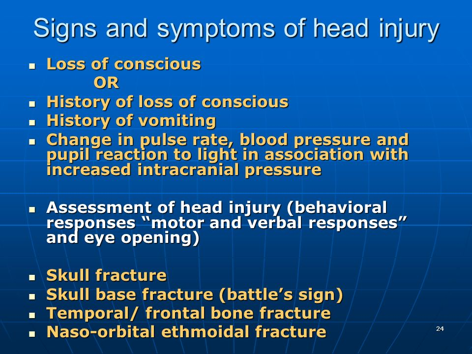 Signs and symptoms of head injury