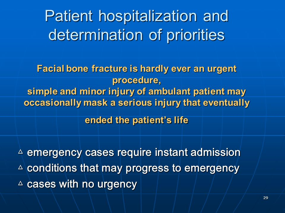 Patient hospitalization and determination of priorities Facial bone fracture is hardly ever an urgent procedure, simple and minor injury of ambulant patient may occasionally mask a serious injury that eventually ended the patient's life