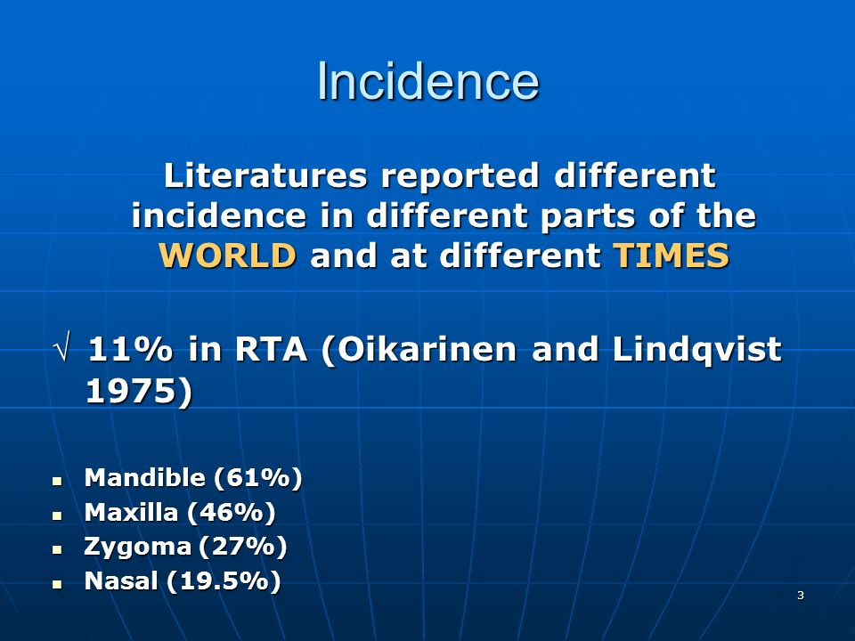 Incidence Literatures reported different incidence in different parts of the WORLD and at different TIMES.