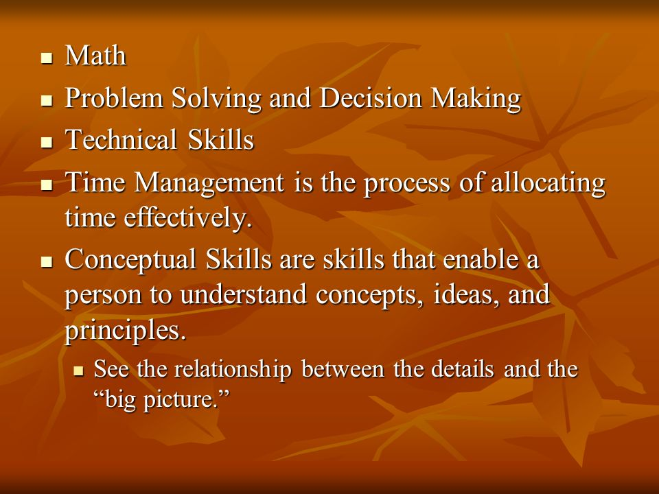 Problem Solving and Decision Making Technical Skills