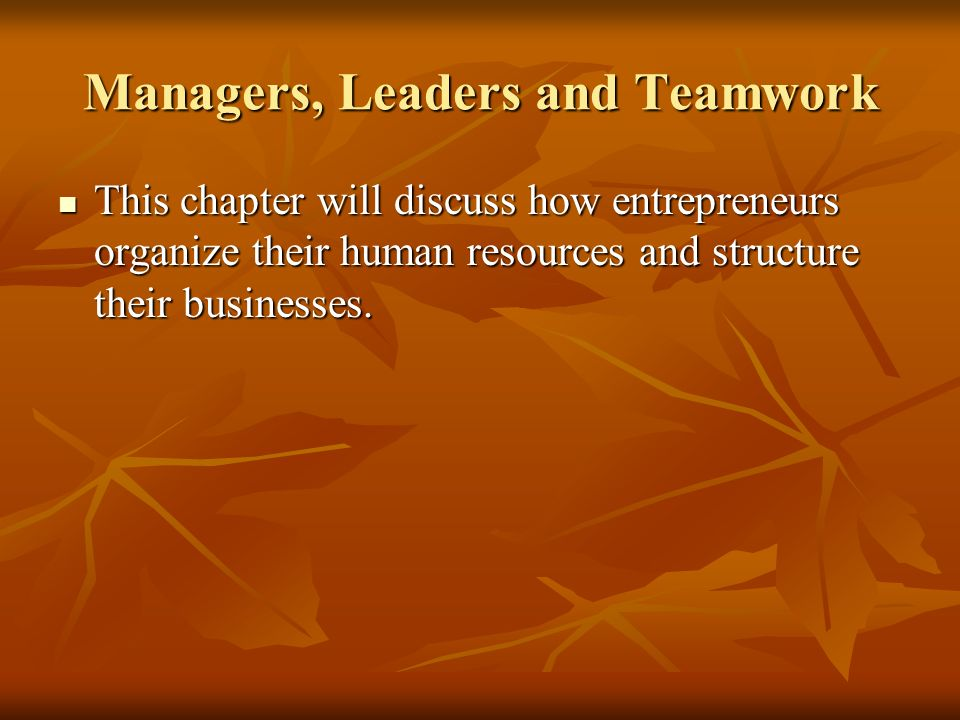 Managers, Leaders and Teamwork