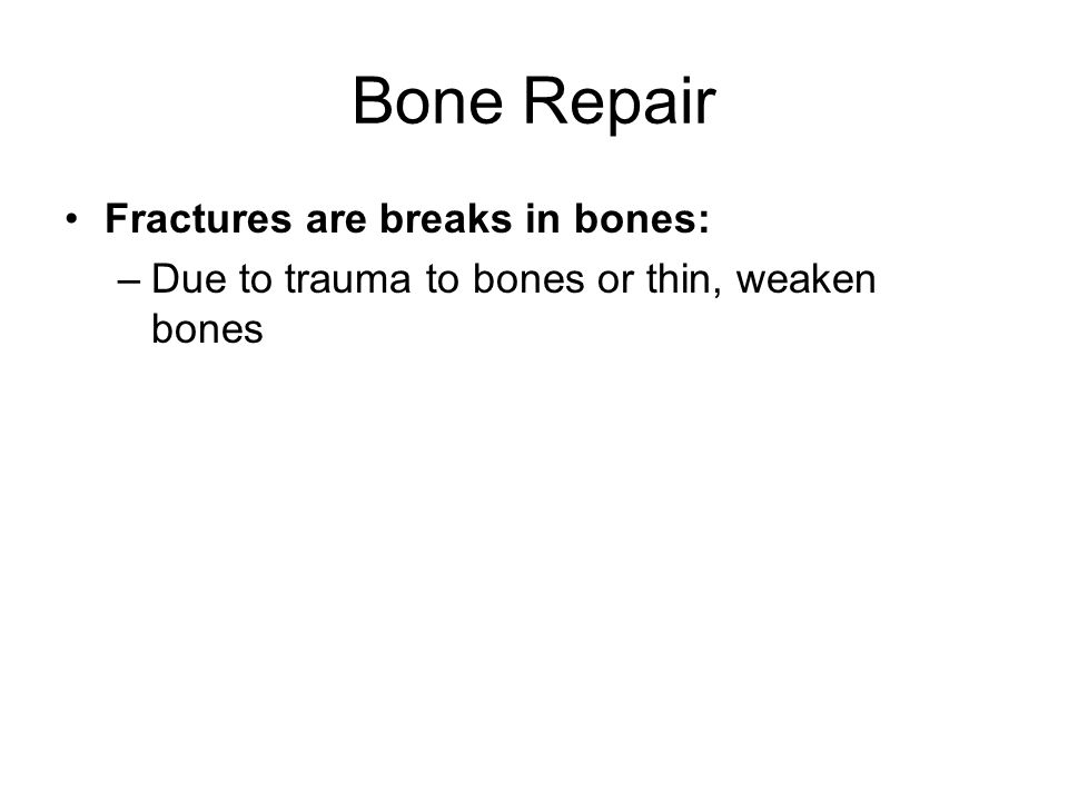 Bone Repair Fractures are breaks in bones: