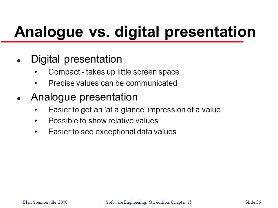 Analogue vs. digital presentation