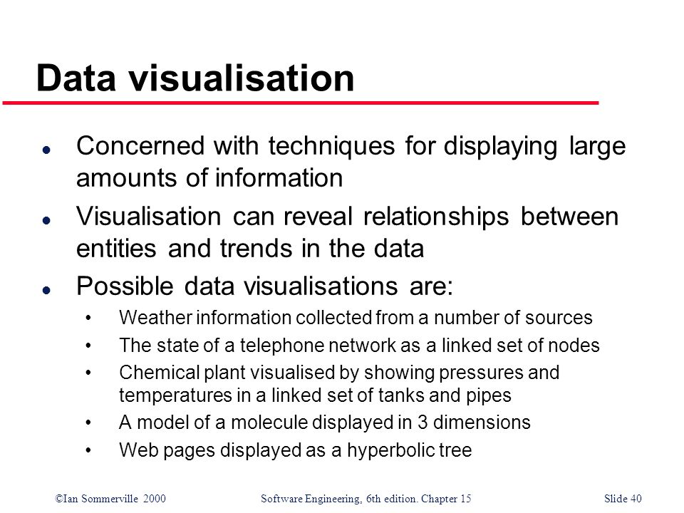 Data visualisation Concerned with techniques for displaying large amounts of information.