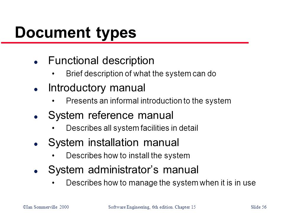 Document types Functional description Introductory manual