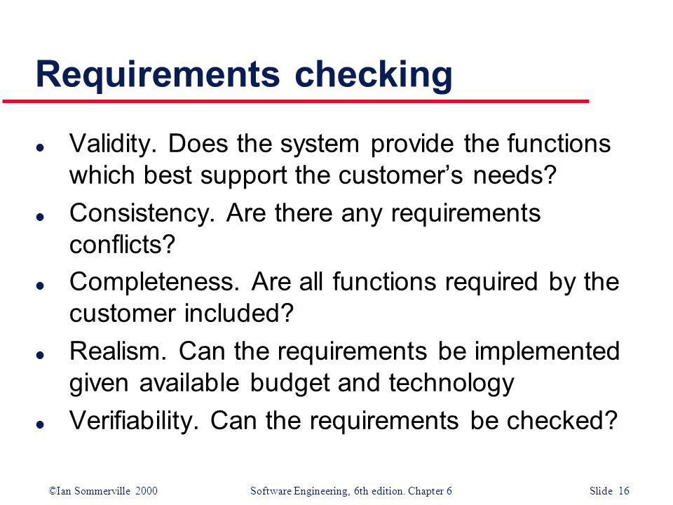 Requirements checking