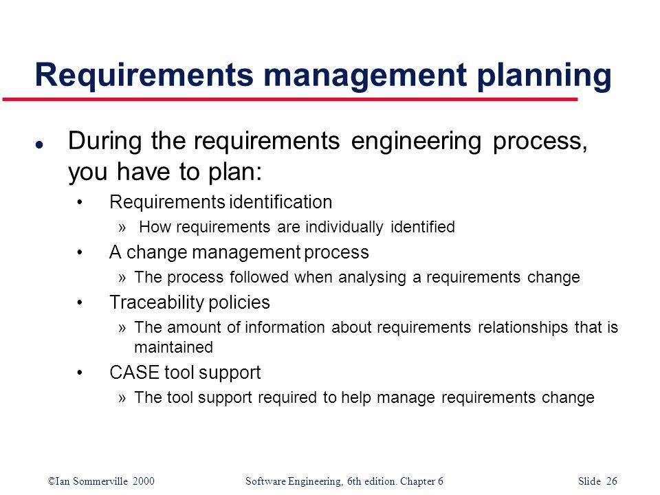 Requirements management planning