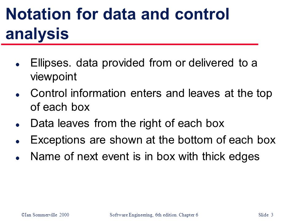 Notation for data and control analysis