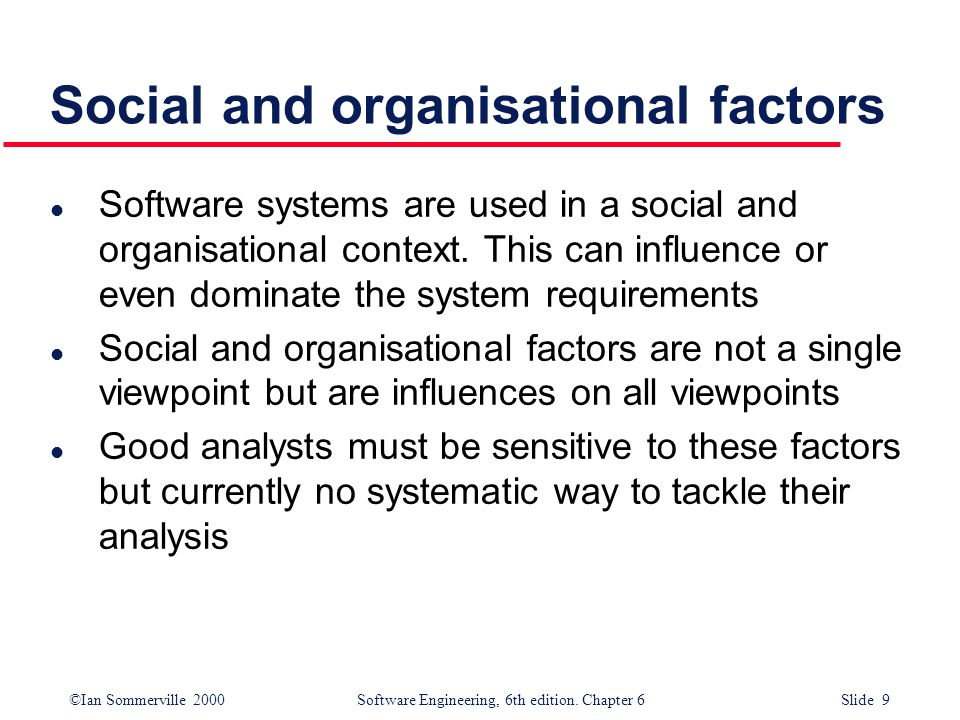 Social and organisational factors