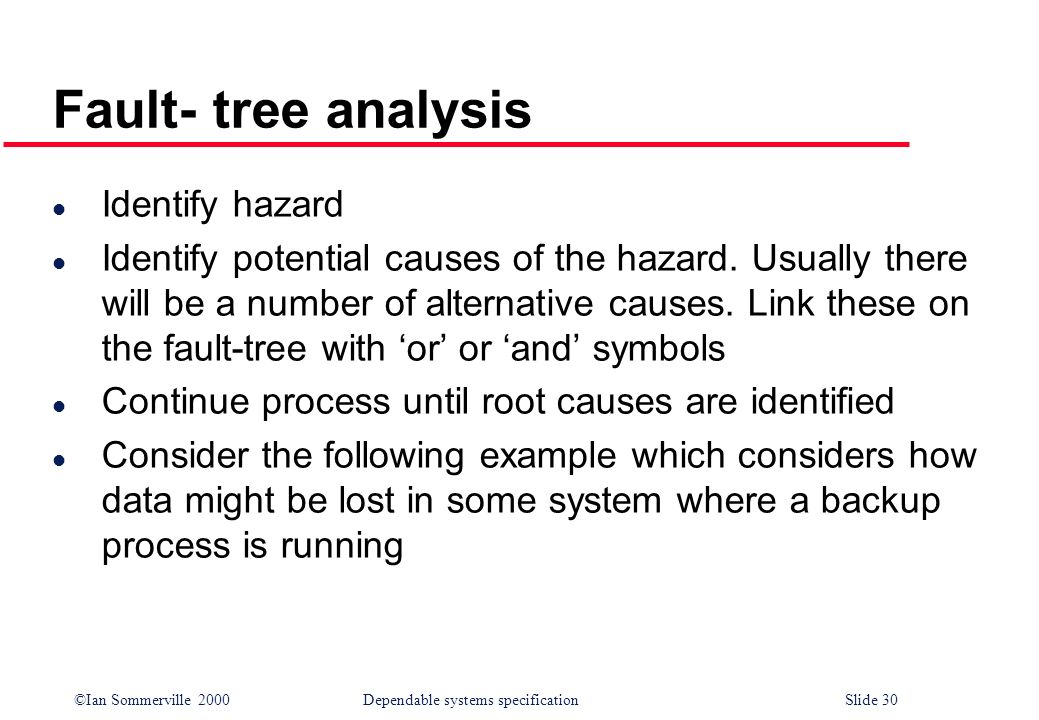 Fault- tree analysis Identify hazard