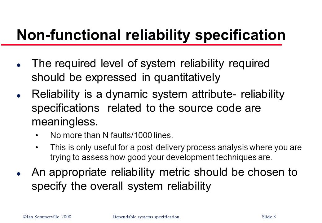 Non-functional reliability specification