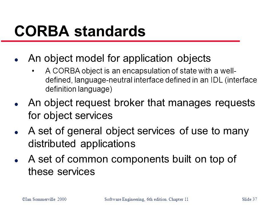CORBA standards An object model for application objects