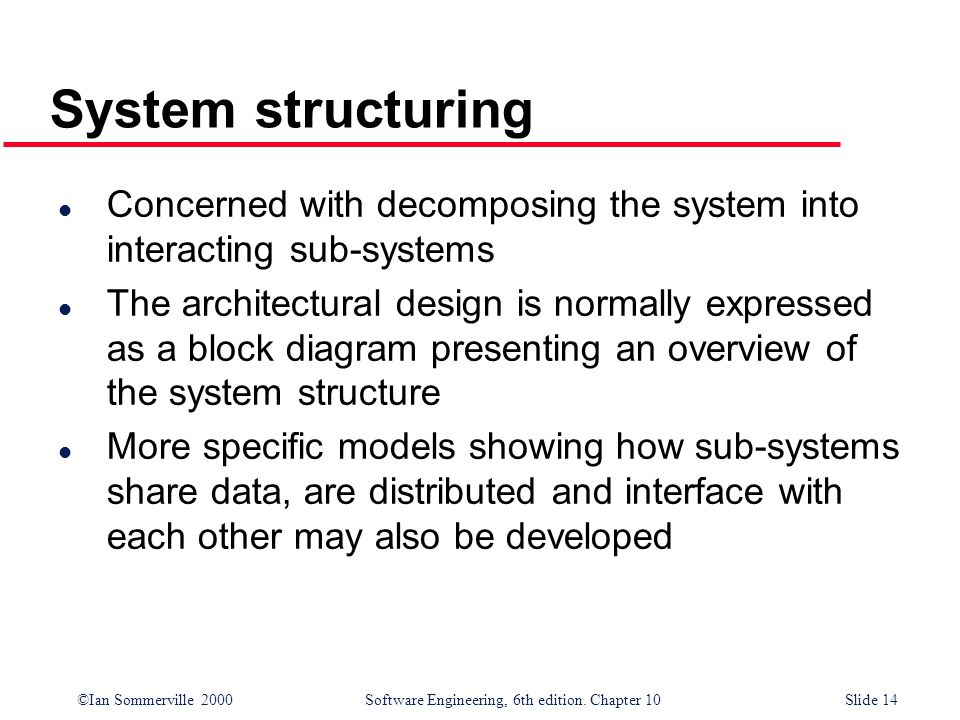 System structuringConcerned with decomposing the system into interacting sub-systems.