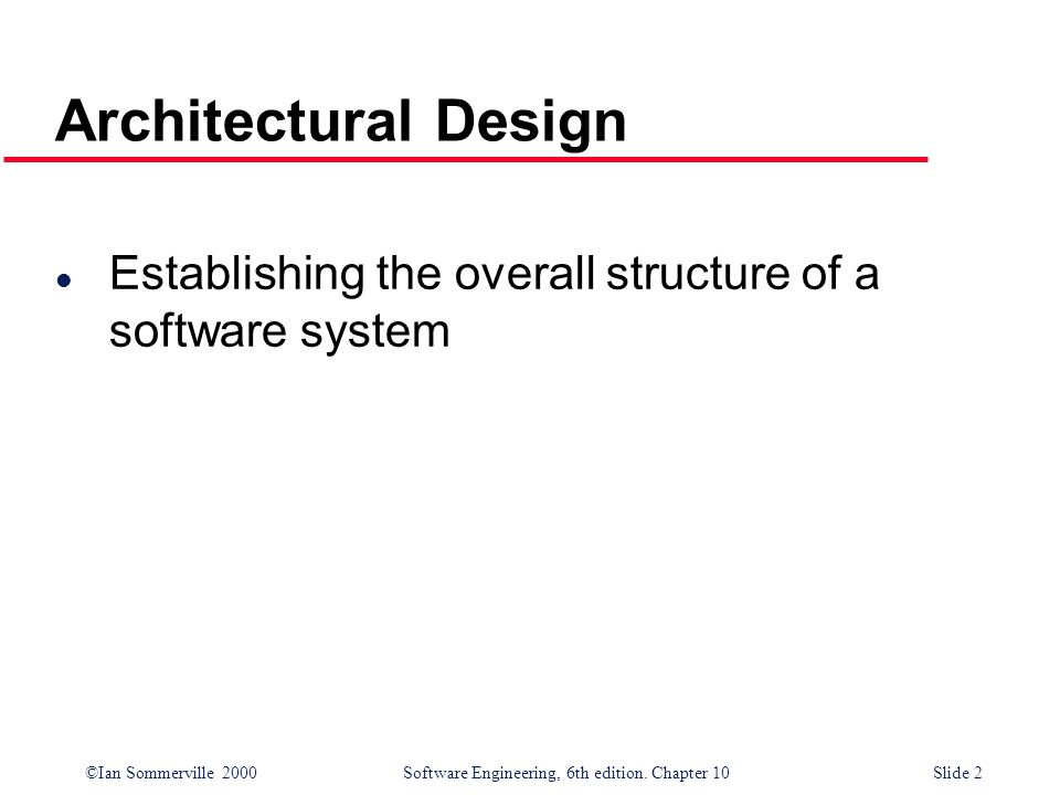 Architectural Design Establishing the overall structure of a software system